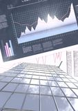 Tall buildings with economic finance chart background. Digital composite of Tall buildings with economic finance chart background Royalty Free Stock Image