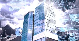 Tall buildings with economic finance grid background. Digital composite of Tall buildings with economic finance grid background Stock Photos