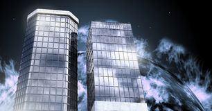 Tall buildings with planet burning background. Digital composite of Tall buildings with planet burning background Stock Photography