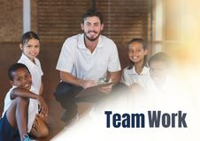Team work text and Physical education teacher with class Royalty Free Stock Images