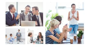 Teamwork business meeting collage stock photography