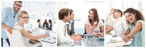 Teamwork business meeting collage royalty free stock photography