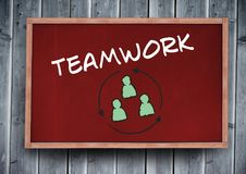 teamwork text on blackboard Royalty Free Illustration