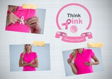 Think pink text and Breast Cancer Awareness Photo Collage Stock Image