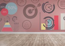 Time and work target graphics in room Royalty Free Stock Photography