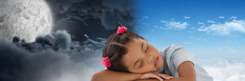 Tired little girl and Day and night moon cloudy sky contrast transition. Digital composite of Tired little girl and Day and night moon cloudy sky contrast Royalty Free Stock Photo
