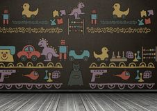 Toys graphics on blackboard in room royalty free illustration