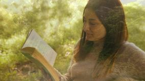Woman reading on a park bench. Digital composite of trees and Caucasian woman sitting on a park bench while reading stock video footage