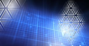 Triangle polygons interface over glowing grid royalty free illustration