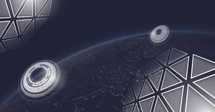 Triangle polygons and planet earth with interfaces. Digital composite of Triangle polygons and planet earth with interfaces Royalty Free Stock Photos