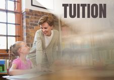 Tuition text and Librarian with elementary school student Stock Image