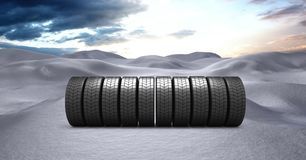 Tyres in Winter snow landscape. Digital composite of Tyres in Winter snow landscape Stock Photography