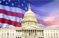 Digital composite: U.S. Capitol with American flag Stock Images
