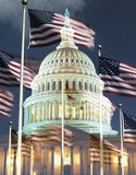 Digital composite: U.S. Capitol with American flag Stock Image