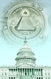Digital composite: U.S. Capitol with money stock photography