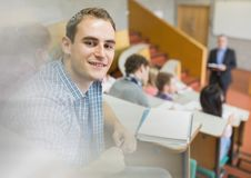 University lecture with student Stock Image