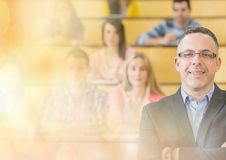 University teacher with class stock images