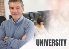 University text and teacher with class. Digital composite of University text and teacher with class royalty free stock photo