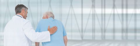 Untitled Doctor man helping a patient. Digital composite of Untitled Doctor men helping a patient Stock Photos