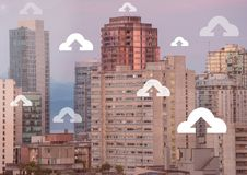 Upload icons over city. Digital composite of Upload icons over city Royalty Free Stock Image
