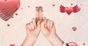 Valentine`s fingers love couple and floating hearts. Digital composite of Valentine`s fingers love couple and floating hearts Royalty Free Stock Photo