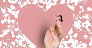 Valentine`s fingers love couple and hearts. Digital composite of Valentine`s fingers love couple and hearts Stock Photo