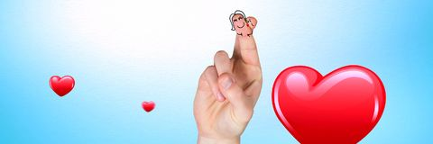 Valentine`s fingers love couple and shiny hearts. Digital composite of Valentine`s fingers love couple and shiny hearts Stock Images