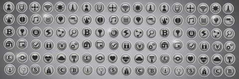 Various app icons in city. Digital composite of Various app icons in city vector illustration