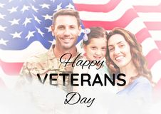 Veterans day soldier with family in front of flag. Digital composite of veterans day soldier with family in front of flag stock photography