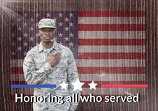 veterans day soldier in front of flag Royalty Free Stock Photography