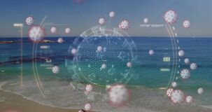 Digital composite video of scope scanning Covid-19 cells against beach in background