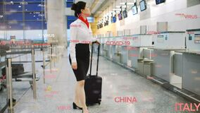 Digital composite video of  virus china italy text against air hostess carrying a suitcase