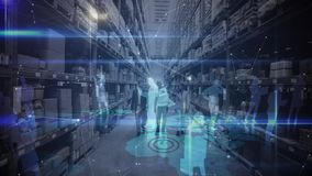 Warehouse Composition waho0918jf People in a warehouse combined with animation of connected people