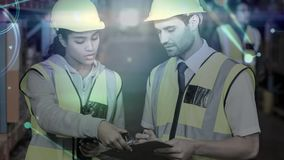 Warehouse Composition Woman and man in the warehouse combined with animation of connectio stock footage