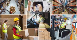 Warehouse industry collage. Digital composite of warehouse industry collage Stock Photo