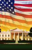 Digital composite: The White House with American flag Stock Photography