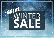 Winter Sale Text on blue rectangle and snowflakes in background. Digital composite of Winter Sale Text on blue rectangle and snowflakes in background royalty free illustration