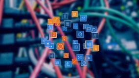 Digital apps icons. Digital composite of wires and cables in the background while digital apps icons form a sphere and expand stock illustration
