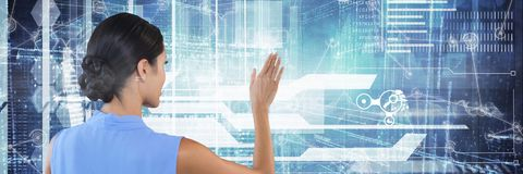 Woman clicks digital background interface. Digital composite of Woman clicks digital background interface Royalty Free Stock Photos