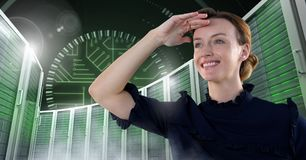 Woman with computer servers and technology information interface stock image