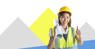 Woman Construction worker with minimal shapes Stock Photography