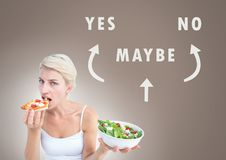 Woman eating deciding healthy food over unhealthy food with Yes No Maybe text with arrows graphic on. Digital composite of Woman eating deciding healthy food Stock Photo