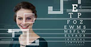 Woman with eye focus box detail and Eye test interface Royalty Free Stock Image