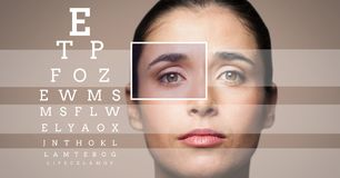 Woman with eye focus box detail and lines and Eye test interface Royalty Free Stock Image