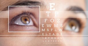 Woman with eye focus box detail and lines and Eye test interface Stock Photography