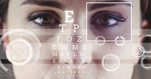 Woman with eye focus box detail and lines and Eye test interface Royalty Free Stock Photography