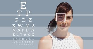 Woman with eye focus box detail and lines and Eye test interface Royalty Free Stock Photo