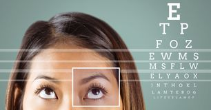 Woman with eye focus box detail and lines and Eye test interface Stock Images