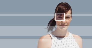 Woman with eye focus box detail and lines Stock Photos