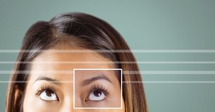woman with eye focus box detail and lines Royalty Free Stock Photography